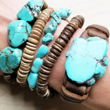 Bracelet Leather Cuff with Turquoise Chunk Adjustable Handmade 117-108