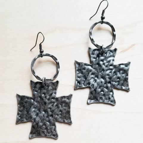 "Earrings Hammered Silver Tone Crosses on Hoops Christian 3 1/2"" #117-103"