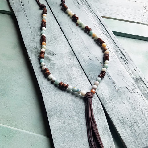 Necklace Amazonite and Wooden Heishi Beads Leather Tassel Handmade #117-110