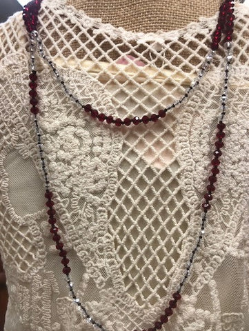 "Necklace Maroon Crystal Beads 30"" Long Strand #117-112"