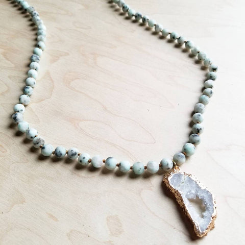 Frosted Sesame Jasper Necklace with White Druzy Pendant #117-118