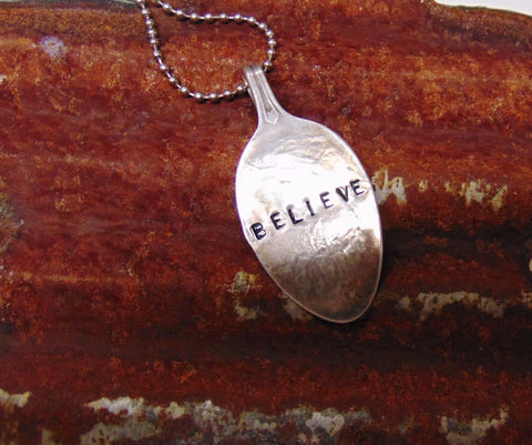 "Handcrafted Spoon Necklace  ""Believe"" #702"