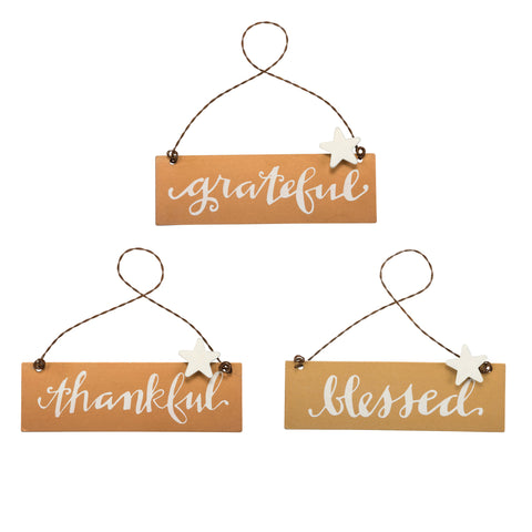 Fall Ornaments Set of 3 Tin Signs Thankful Grateful Blessed Christmas Decor