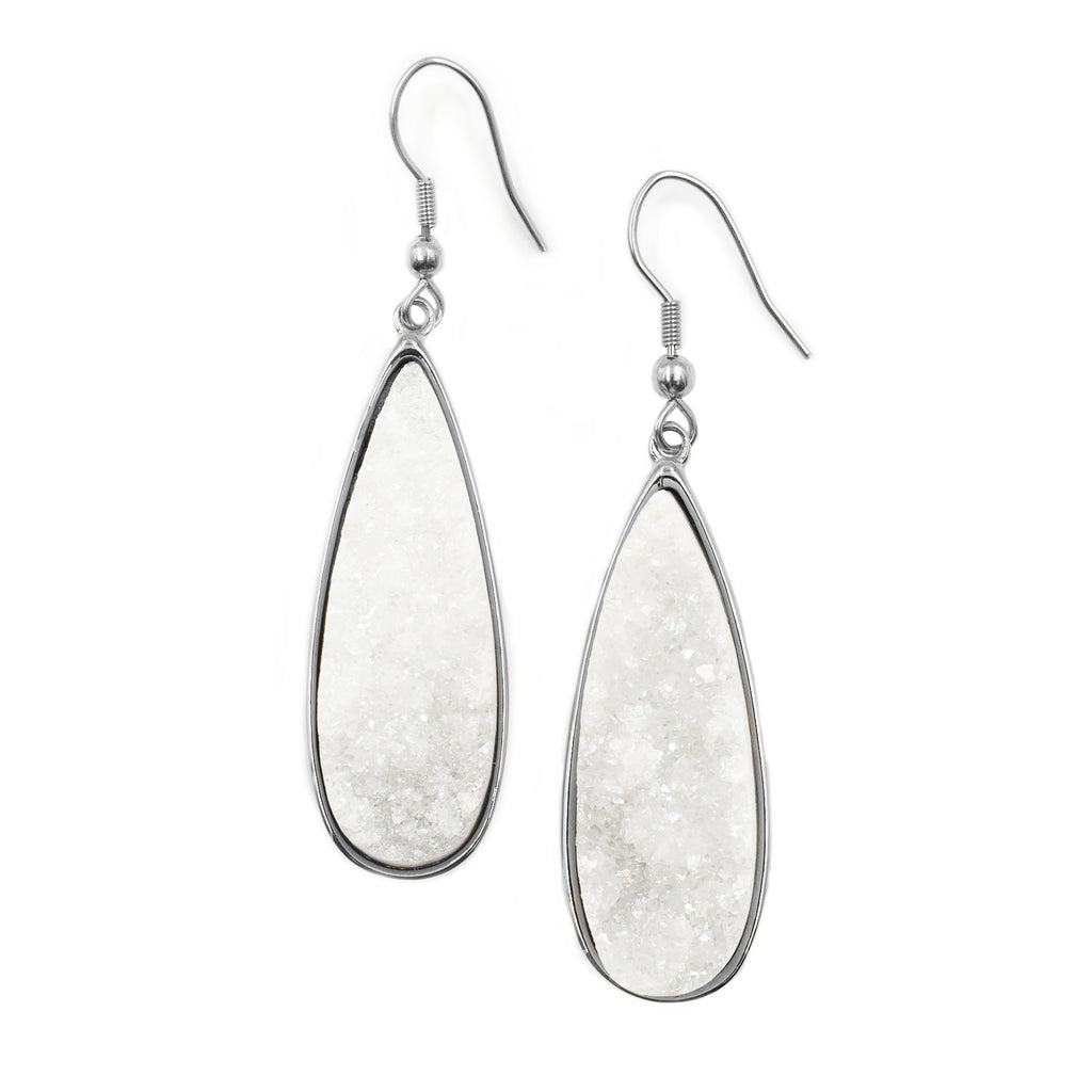 Kinsley Armelle White Druzy Quartz Drop Earrings Silver #117-524S