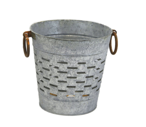 Galvanized Tin Olive Bucket - Farm House Decor