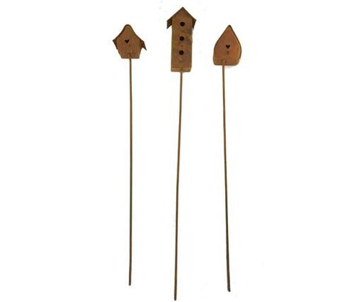 Plant Stake Garden Pick SET OF 3 Birdhouse Stakes Flower Pot Rusty Picks Yard Ornament Patio Decor #1009