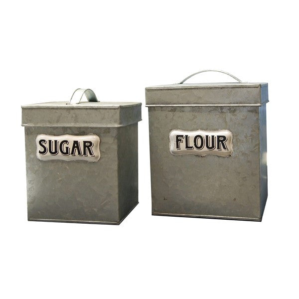 GALVANIZED CANISTER SET 2PC.