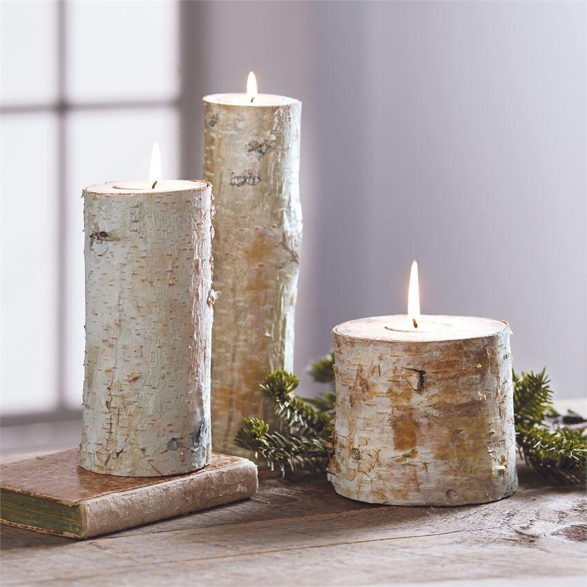 Birch Bark Log Tealight Set of Three #117-303
