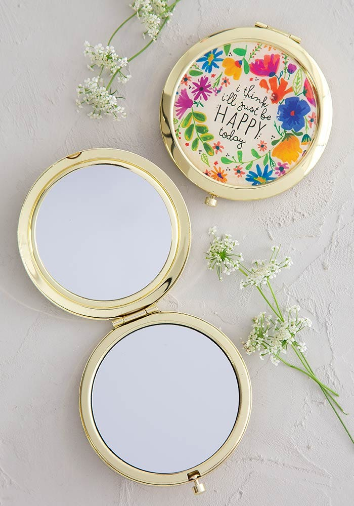 Natural Life Mirror Compact Just Be Happy #900-240