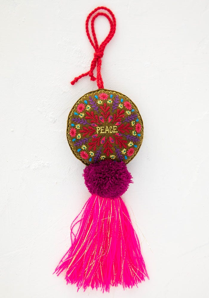 Natural Life Peace Embroidered Ornament Tassel #900-245