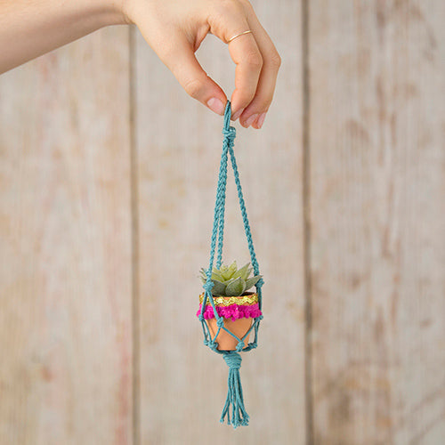 Natural Life Mini Macrame Succulent Clay Pot Gift Best Friend #900-112