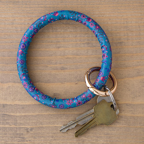 Natural Life Blue Floral Key Ring Bracelet #900-128