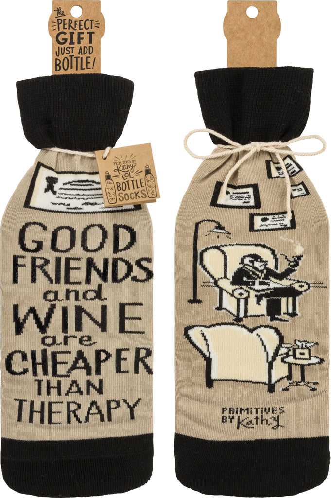"Bottle Sock ""Friends and Wine Are Cheaper Than Therapy"" #100-1392"