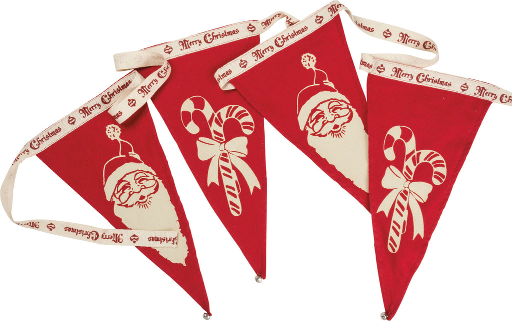 Christmas Pennant Garland Santa and Candy Canes #100-1328