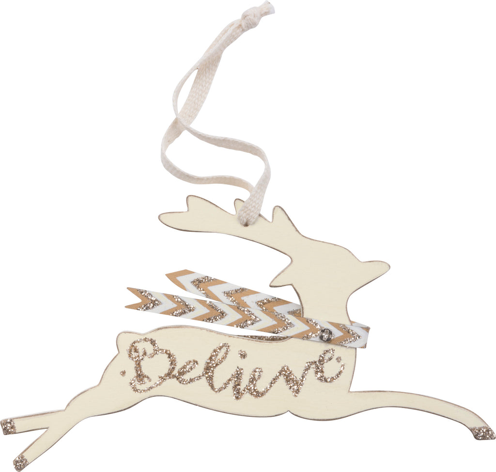 Christmas Ornament Set of 2 Believe Deer #100-1324