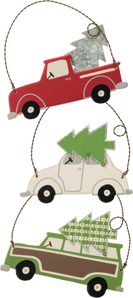 "Christmas Vintage Truck Ornaments Set of 3 ""Home for the Holidays"" #100-1317"