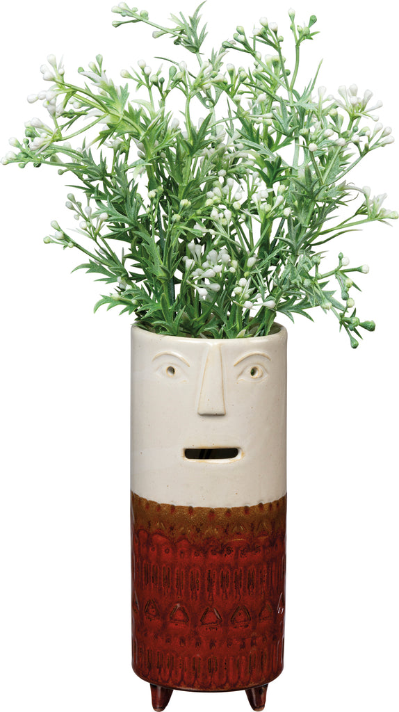 Face Vase Medium Brown with Feet #100-1353