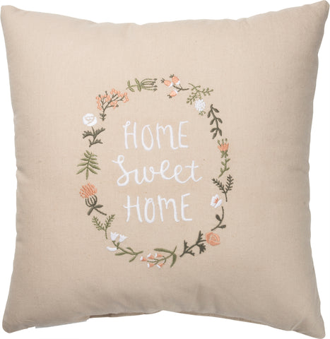 "Pillow Embroidered Herb and Floral Design ""Home Sweet Home"" #1406"