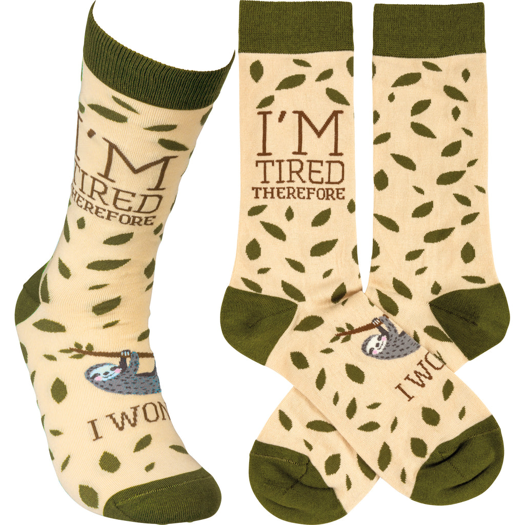 "Socks with Sloth ""I'm Tired Therefore I Won't"""