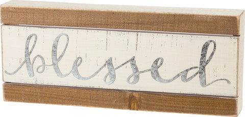 "Slat Wood Sign with Raised Metal Letters ""Blessed"" Perfect Farmhouse Decor #3860"