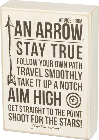 Box Sign Advice from an Arrow for Inspirational Theme Decor #934