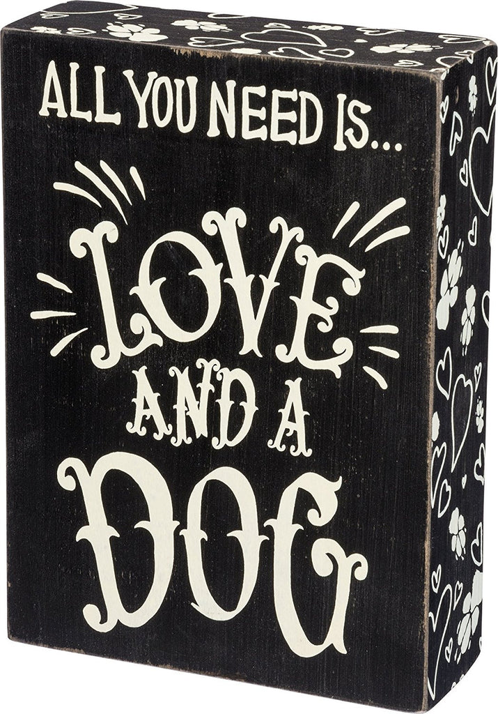 Box Sign Love and a Dog #766