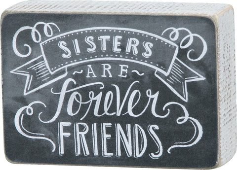 "Box Sign 'Sisters are Forever Friends"" Wall Decor Gift Sorority #997"