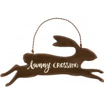 "Bunny Rabbit Hanging Ornament SET OF 2 ""Bunny Crossing"" #659"