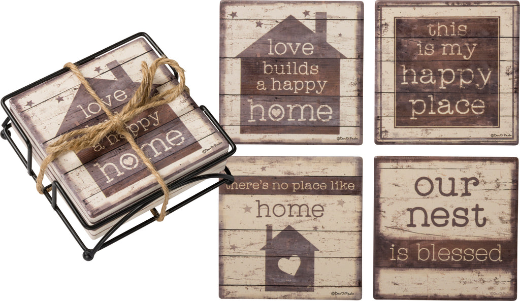 "Coasters SET OF 4 with Holder ""Home Sweet Home"" #807"