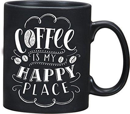 "Mug ""Coffee is my Happy "" Coffee Black Kitchen Cup Family Best Friend #1022"