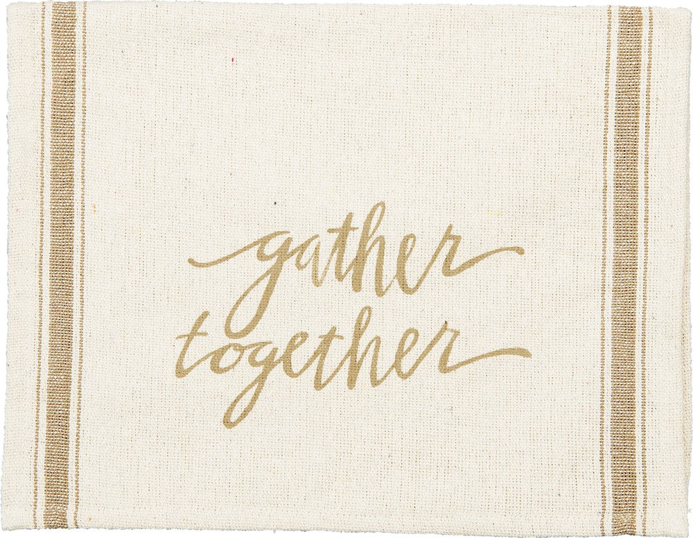 "Kitchen Tea Towel ""Gather Together"" Fall Autumn Thanksgiving"