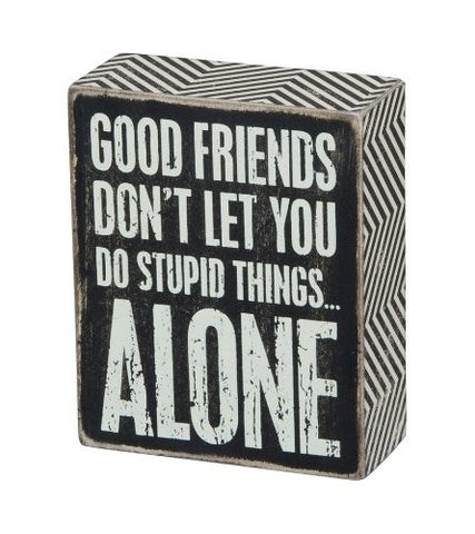 "Box Sign ""Good Friends Don't Let you do Stupid things Alone"" Funny Friend Gift  #838"