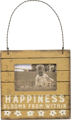 "Photo Holder Mini Hanging Sign ""Happiness Blooms From Within"" #971"