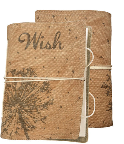 "Journal Blank Pages Notebook with Canvas Cover ""Wish"" #979"