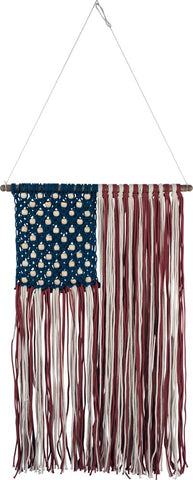 American Flag Macrame Wall Hanging Decoration Red White Blue 4th of July #1057