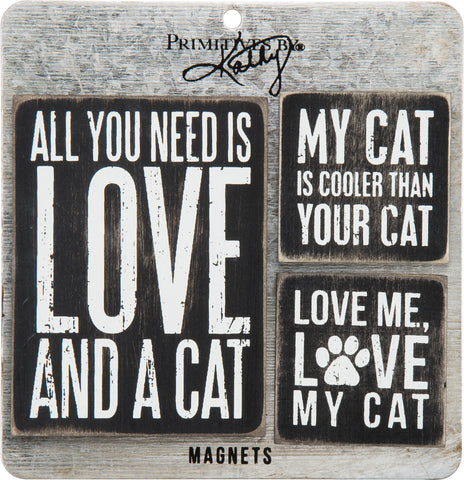 "Magnet Set of 3 ""Love and a Cat"" for Cat Lovers #856"