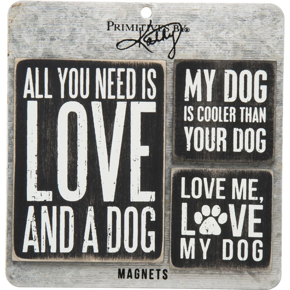 "Magnet Set of 3 ""Love and a Dog"" #952"