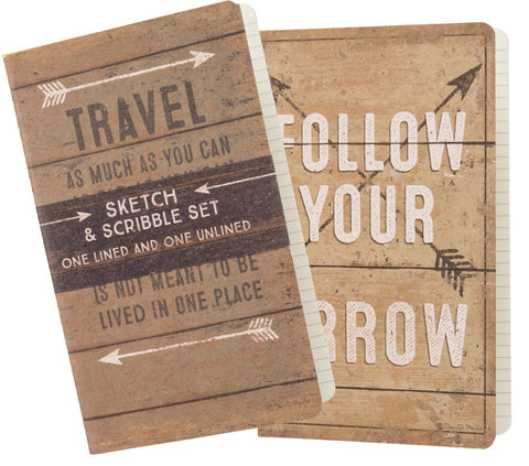 Journal Notebook SET OF 2 Follow Your Arrow Travel Adventure #1043