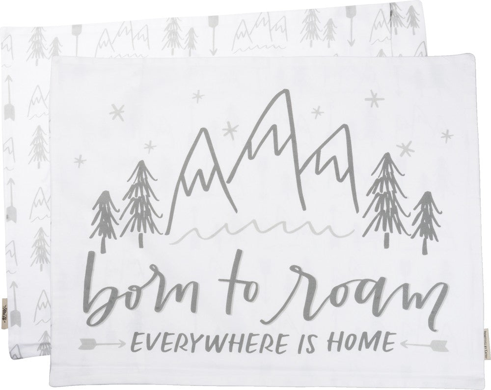 "Pillow Case ""Born to Roam!"" Mountains Travel Family Explore Adventure #PC-106"