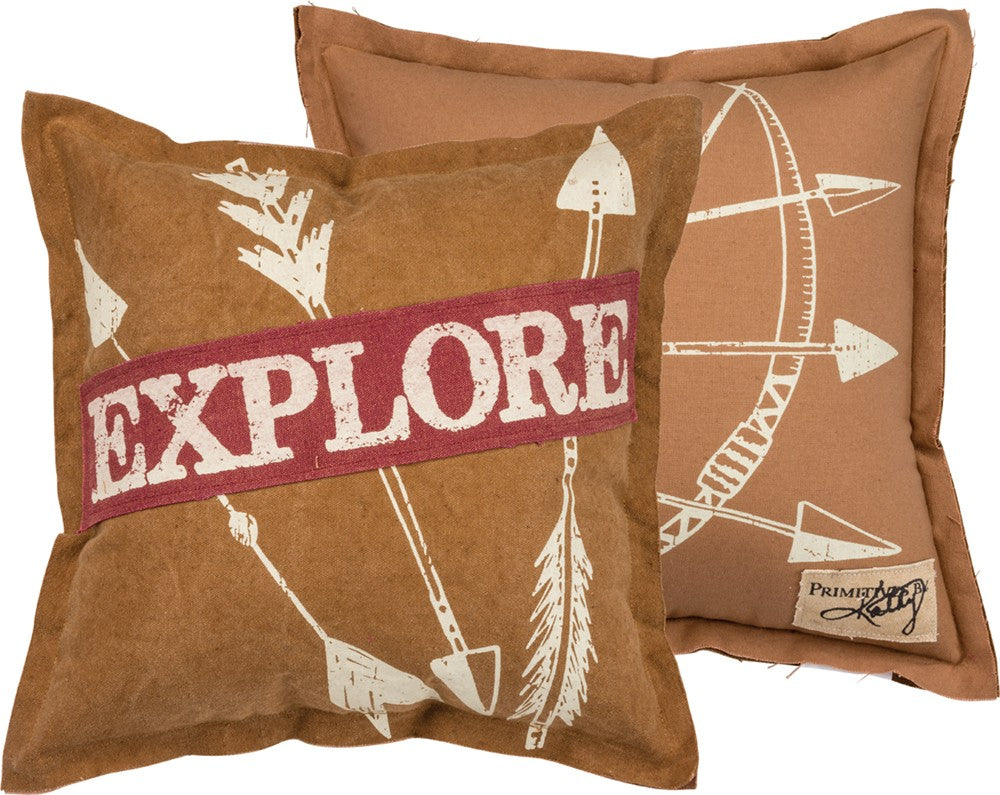Pillow Explore with Arrows Home Decor Adventure Travel Throw Accent #P-114