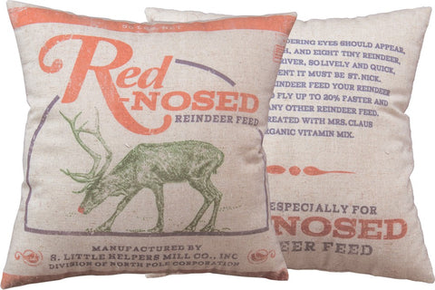 Red-Nosed Reindeer Decorative Christmas Pillow