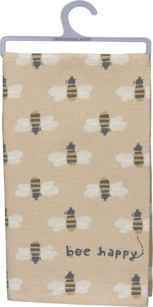 "Tea Towel Dish Cloth ""Bee Happy"""