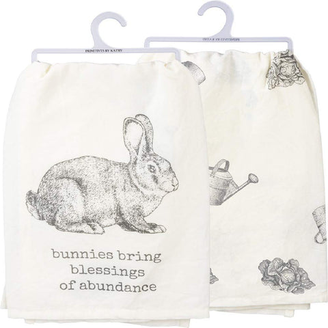 "Dish Towel ""Bunnies Bring Blessings"" for Easter and Spring"