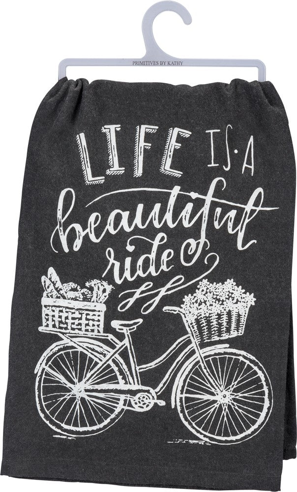 "Tea Towel ""Life is a Beautiful Ride"" Kitchen Dish Cloth"