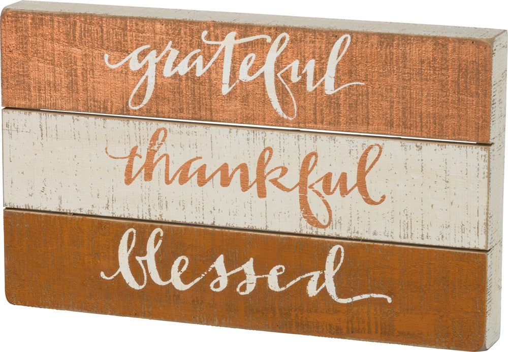"Wall Decor Sign ""Thankful Grateful Blessed"" Wooden Thanksgiving Fall #657"