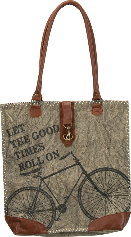 "Tote Bag ""Let the Good Times Roll On"" Large Canvas Purse Bicycle Cycling #1020"