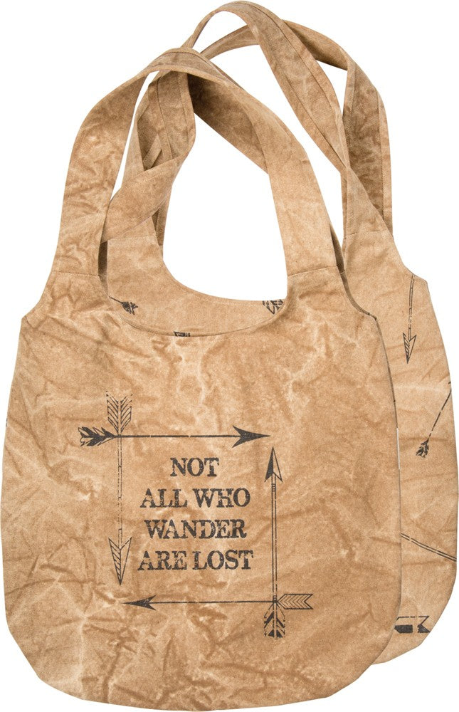 "Tote Bag ""Not All Who Wander Are Lost"" Large Canvas Purse Travel Adventure #1023"