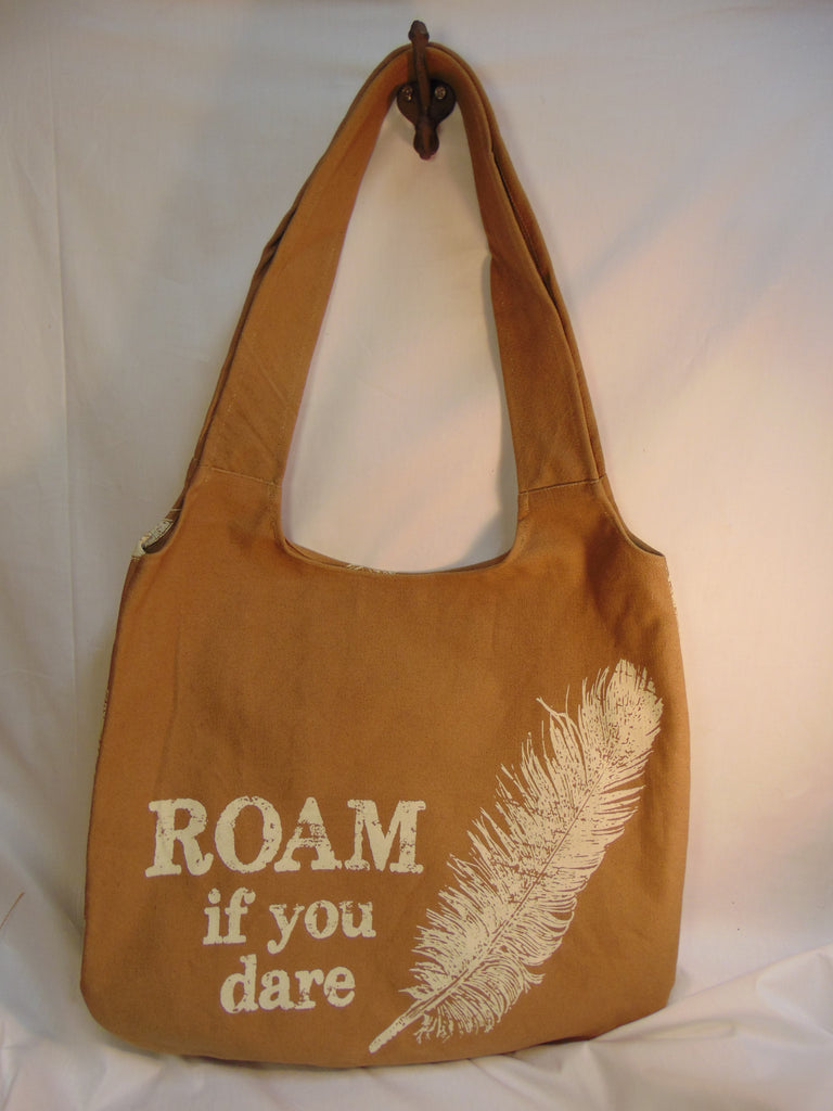 Tote Bag Roam if you Dare for Groceries, Overnight, Laptop, Books, or Errands