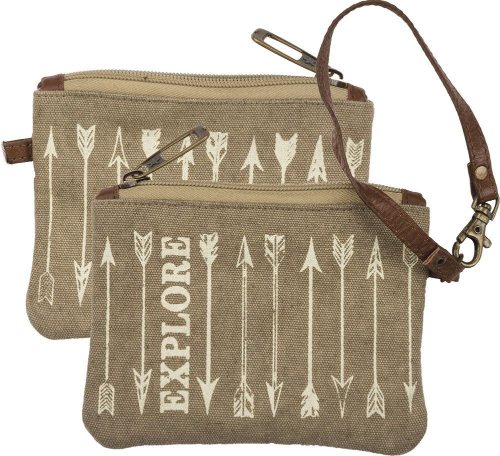 "Canvas Coin Purse Wristlet ""Explore"" #1026"