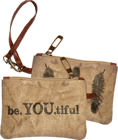 "Wristlet ""Be-you-tiful"" Cotton Zipper Pouch #977"